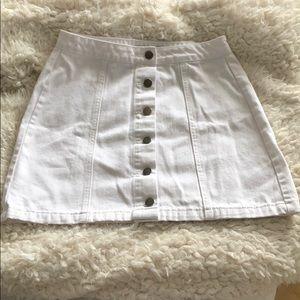 Forever 21 White Denim Button Front Skirt